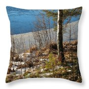 Lake Partly Covered With Ice In Early Spring Throw Pillow