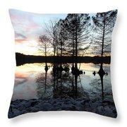 Lake Reflections At Sunset Throw Pillow