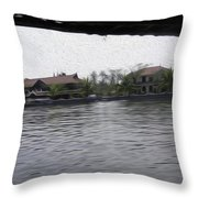 Lake Resort Framed From A Houseboat Throw Pillow