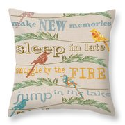 Lake Rules With Birds-c Throw Pillow