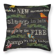 Lake Rules With Birds-d Throw Pillow