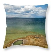 Lake Shore Geyser In West Thumb Geyser Basin Throw Pillow