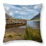 Lake Stone Wall Throw Pillow