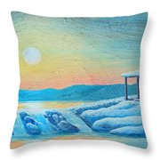 Lake Sunrise And The Old Cabin Throw Pillow