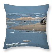 Lake Superior And Ice Throw Pillow
