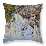 Lake Superior Icicle Shoreline Throw Pillow