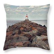 Lake Superior Light House Throw Pillow