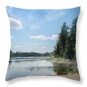 Up North - Lake Superior Misty Beach Throw Pillow by Patti Deters