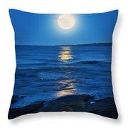 Lake Superior Moonrise Throw Pillow