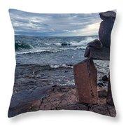 Show Me The Way - Lake Superior Rock Stack Throw Pillow