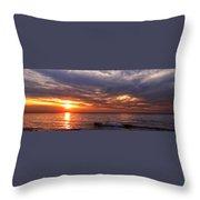 Lake Superior Sunset Panorama Throw Pillow
