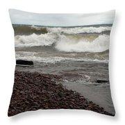 Lake Superior Surf Throw Pillow