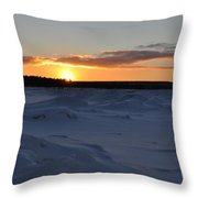Lake Superior Winter Sunset 2 Throw Pillow