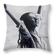 Lake Swan Splash Throw Pillow