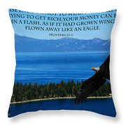 Lake Tahoe Eagle Proverbs Throw Pillow