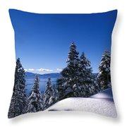 Lake Tahoe In Winter Throw Pillow by Kathy Yates
