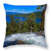 Lake Tahoe Waterfall Throw Pillow