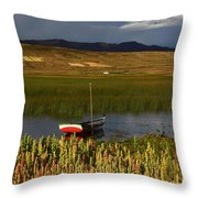 Lake Titicaca And Quinoa Field Throw Pillow