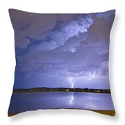 Lake View Lightning Thunderstorm Throw Pillow
