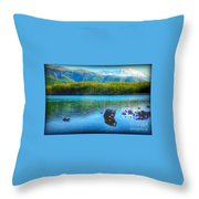 Lake View Of Mount Saint Helens  Throw Pillow