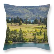 Lake Wakatipu And Queenstown Golf Course Throw Pillow