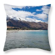 Lake Wakatipu And Snowy New Zealand Mountain Peaks Throw Pillow