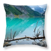 Lake With Canadian Rockies Throw Pillow
