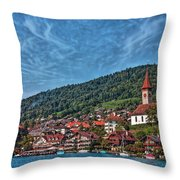 Lakefront Provincial Town Throw Pillow
