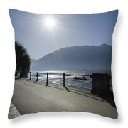Lakefront With Sun Throw Pillow