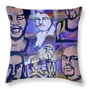 Lakers Love Jerry Buss 2 Throw Pillow