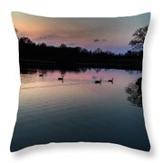 Lakeside Sunset Reflections Throw Pillow