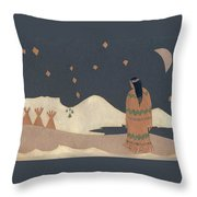 Lakota Woman With Winter Constellations Throw Pillow