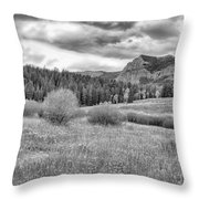 Lamar Valley Looking Towards Specimen Ridge Bw- Yellowstone Throw Pillow