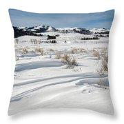 Lamar Valley Winter Scenic Throw Pillow