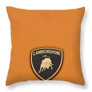 Lambo Hood Ornament Orange Throw Pillow