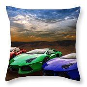 Lamborghini Triplet Throw Pillow