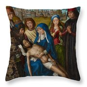Lamentation With Saint John The Baptist And Saint Catherine Of Alexandria Throw Pillow
