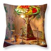 Lamp And Menorah Throw Pillow