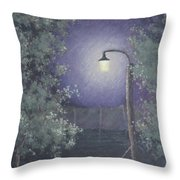 Lamp In The Rain Throw Pillow