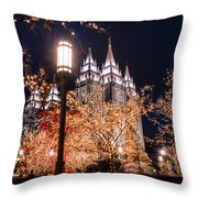 Lamp Post Slc Temple Throw Pillow