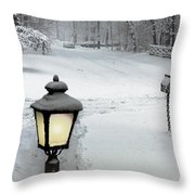 Lamppost In Snow Throw Pillow