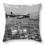Lancaster City Of Lincoln Over The City Of Lincoln Black And White Throw Pillow