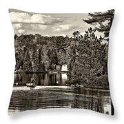 Land Of Lakes Sepia Throw Pillow