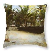 Kayak On Beach Throw Pillow