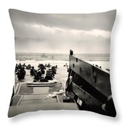 Landing At Normandy On D-day Throw Pillow