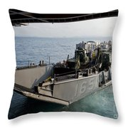 Landing Craft Utility Departs The Well Throw Pillow