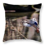 Landing Mallard Throw Pillow