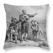 Landing Of The Pilgrims, 1620, Engraved By A. Bollett, From Harpers Monthly, 1857 Engraving B&w Throw Pillow