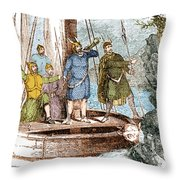 Landing Of The Vikings In The Americas Throw Pillow