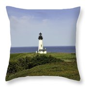 Landscape At Yaquina Lighthouse Throw Pillow